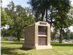 Over-and-under (stack) deluxe mausoleum with fluted columns in Shreveport, LA