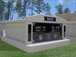 Side-by-side deluxe mausoleum with granite inlays in the columns in Mechanicsburg, IN