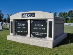Side-by-side deluxe mausoleum with granite in the columns in Bratt, FL