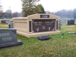 Side-by-side deluxe mausoleum with granite inlays in the columns in Indianola, MS