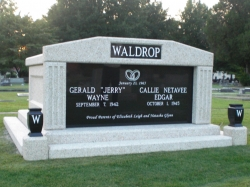 Side-by-side deluxe mausoleum with fluted columns, vases on pedestals, step-up trim pieces in Tuscaloosa, AL