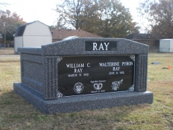Side-by-side deluxe mausoleum deep gray with fluted columns in Indianola, MS