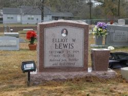 This is a morning rose granite color single upright headstone with a vase in Saucier, MS