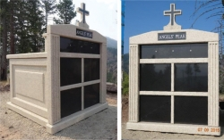 Customized 4-space with cross and 4-niche spaces on top with fluted columns in Missoula, MT