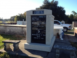 Over-and-under (stack) deluxe white mausoleum with fluted column in Bay St. Louis, MS