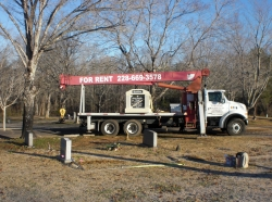 Single deluxe mausoleum on our boom truck inside the cemetery in Shelby, NC.