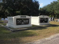 Two deluxe side-by-side mausoleums with fluted columns in Pascagoula, MS