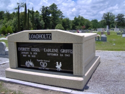 Side-by-side deluxe mausoleum with fluted columns on gravel in Macclenny, FL